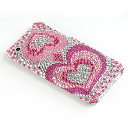 Premium Luxurious Designer Hard Diamond Crystal Snapon Case for Apple iPhone 3G, 3GS 3GS  Hot Pink Silver with Two Hearts Crystals