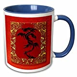 3dRose Doreen Erhardt New Year Collection - Chinese Zodiac Year of the Dragon Chinese New Year Red, Gold and Black - 11oz Two-Tone Blue Mug (mug_101857_6)