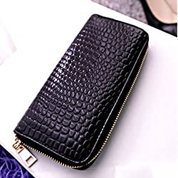 Black Menba Lady's Bright-Coloured Leather Clutch Zipper Wallet from BM