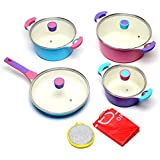 Fessle Die-Cast Aluminium Ceramic Cookware Set, 12Pcs, Multi Color