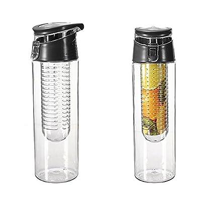FORTAG 800ML Schwarze Trinkflasche Kratzfeste Sportflasche für Fruchtschorlen für Schulkinder Liebhaber-Cup Infuser Transparenz mit Filter für Obstzusätze Fruit Infused Water