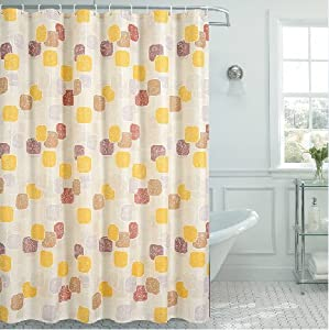 Eforcurtain Extra Long Geometric Pattern Shower Curtain Fabric Waterproof 72 Inch