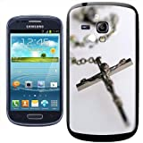 Fancy A Snuggle Silver Rosary with Image of Jesus Christ on Cross Clip-on Hard Back Cover for Samsung Galaxy S3 Mini i8190