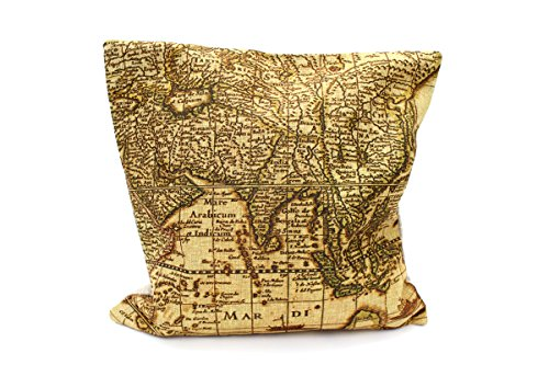 Kissenbezug Klaas 40x40cm Kissenhülle Vintage Landkarte Atlas Weltkarte Asien Nostalgie Antik Leinen Kissen alte Schrift Dekokissen (gold)
