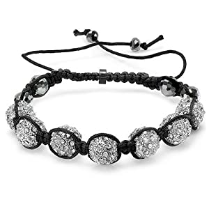Beaded Bracelet Mens Ladies Unisex Hip Hop Style Pave Seven Crystal 11mm White Disco Ball Faceted Bead Adjustable