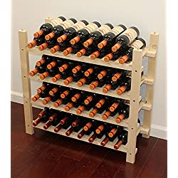 Stackable Wine Storage Rack, Wooden Stand, (60 Bottle Capacity: 4 rows) WN60