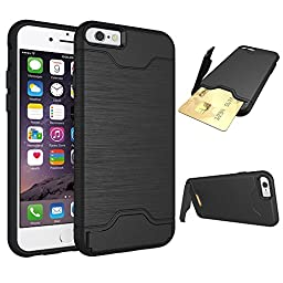 iPhone 6 Plus Cases, [Card Slot] [KickStand] Se7enline Tough Armor Dual Layer Soft TPU&Hard PC Hybrid Shockproof Anti-Scratch Case Cover with Card Holder for iPhone 6/6S PLUS 5.5 inch Black