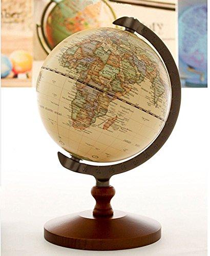"KiaoTime Vintage World Globe Antique Decorative Desktop Globe Rotating Earth Geography Globe Wooden Base Educational Globe Wedding GIFT 8.25""x 5.75"" 1"
