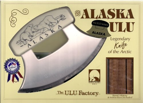 """7"""" Inupiat Style Cultured Ivory Handled Ulu with Walnut Stand (Etched Polar Bears)"""