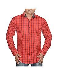 Hunk Men's Red Cotton Shirt - B00TB608RY
