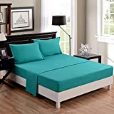 Honeymoon super soft /Elegant/Wrinkle Free / Fade-resistant/ No Ironing 4PC bed sheet set, Twin/Full/Queen, Turquoise, deep pockets, sensitive skin, fine workmanship, Easy Care