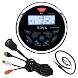 Boss Audio MGR350B Bluetooth In Dash Marine Gauge Style Digital Media AM/FM Receiver Bundle Combo With Enrock USB 3.5MM AUX To RCA Interface Mount Cable + Enrock 22
