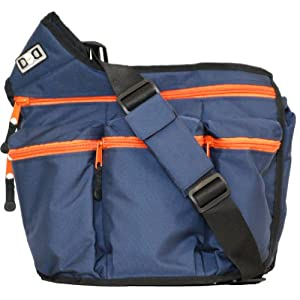 Diaper Dude Messenger Diaper Bag for Dads, Navy with Orange Zippers