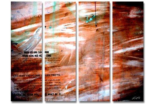 Moderne Malerei! 4 teiliges Bild auf Leinwand - modern Art Design (Can Ban_big) Kunstdruck auf Rahmen mit Bilder Motiv (abstrakt moderne Malerei Striche Schrift Farbverläufe rot braun weiß) . Schnäppchen, ideal als Geschenk für Familie & Freunde. Schöner wohnen mit Foto als Bild - Picture at Home. 100% Made in Germany - Qualität aus Deutschland. Weitere schöne Foto Bilder im Bild Online Shop.