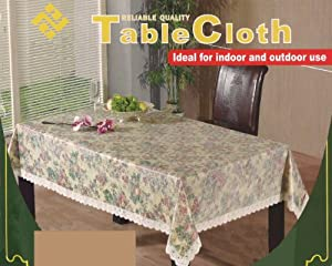 "Floral Tablecloth 60"" x 104"" Rectangle Shape - Spillproof Vinyl Easy Clean"