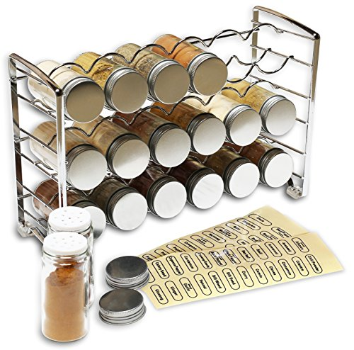DecoBros Spice Rack Stand holder with 18 bottles and 48 Labels, Chrome (Deco Spice Jar compare prices)