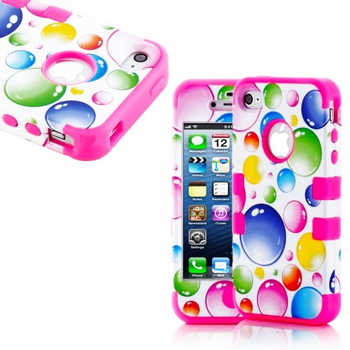 Mylife (Tm) Bright Pink And White - Bubble Party Series (Neo Hypergrip Flex Gel) 3 Piece Case For Iphone 5/5S (5G) 5Th Generation Itouch Smartphone By Apple (External 2 Piece Fitted On Hard Rubberized Plates + Internal Soft Silicone Easy Grip Bumper Gel +