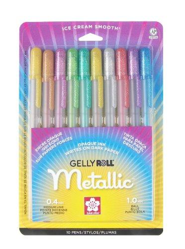 Sakura 57370 10-Piece Gelly Roll Blister Card Assorted Colors Metallic Gel Ink Pen Set [+Peso($47.00 c/100gr)] (US.AZ.9.87-0-B001LXK5HS.387)