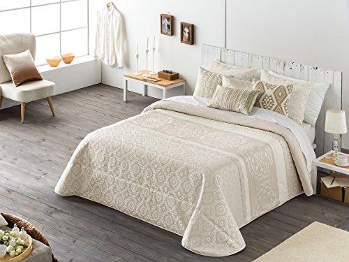 Textilhome - Colcha Bouti Jacquard INFINITY - Cama 135cm - Color Beig