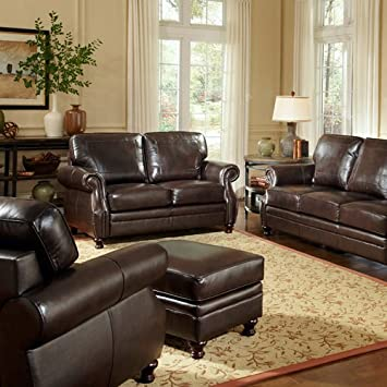 AT HOME DESIGNS Double-Stitch Design Leather Loveseat