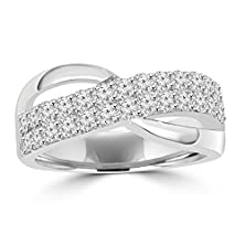 buy 1.00 Ct Ladies Round Cut Diamond Anniversary Ring In 14 Kt White Gold In Size 6