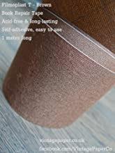 Filmoplast T - Bookbinding Cloth Acid-free Book Spine Repair Tape Brown 1 Meter x 5cm - Free Deliver