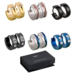 BMC 6pc Mens Stainless Steel Fashionable Multicolor Crystal Studded 4mm Luxury Hinge Snap Hoop Earrings Lot - Set 1