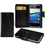 (Blue) Acer Liquid Z5 Protective Mega Thin Faux Leather Suction Pad Wallet Case Cover Skin With Credit/Debit Card Slots Aventus