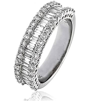 1.50CT Certified G/VS2 Baguette and Round Brilliant Cut Half Eternity Diamond Ring in 18K White Gold
