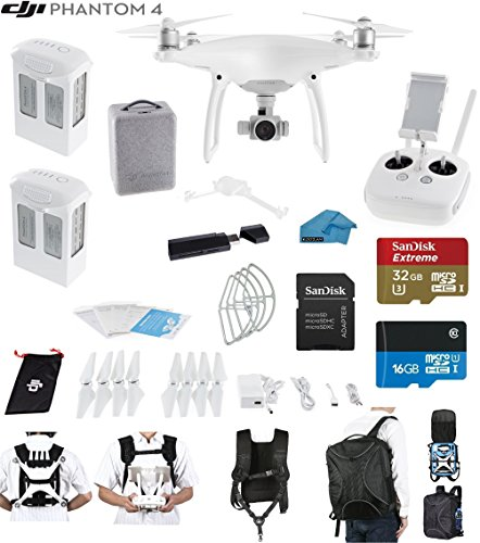 DJI Phantom 4 Quadcopter Drone Bundle with 2 set of 9450S Quick Release Propellers for Phantom 4 Quadcopter and Accessories (17 Items)