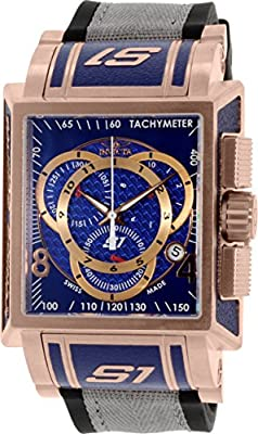 Invicta Men's 11689 S1 Chronograph Blue Dial Black Polyurethane and Grey Nylon Watch