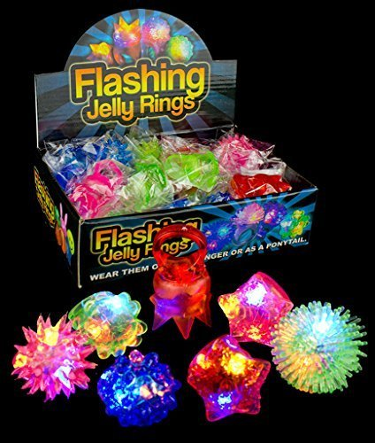 Fun-Central-AC809-LED-Flashing-Jelly-Rings-Assorted-Styles-and-Colors-24ct-with-Additional-Ebook