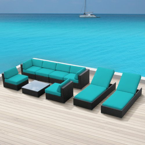 Luxxella Outdoor Patio Wicker BELLA 9 Pc Turquoise