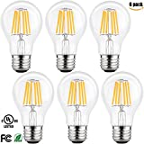 LETO A19 6W 2700k LED Dimmable Filament Edison Style Light Bulb, UL Listed, Soft White, 6-Pack