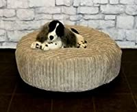 "Zippy Round Bean Bag Pet Dog Bed - 30"" diameter - Beige Jumbo Cord Fabric - Beanbags by Zippy"