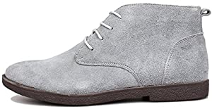 PhiFA Men's Suede Leather Ankle Chukka Boots Lace-ups Flat Heels US Size 10 Gray