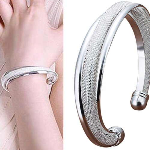 Fashion Jewelry Women's Silver Plated Cuff Bracelet Ladies Bangle by Bluelans