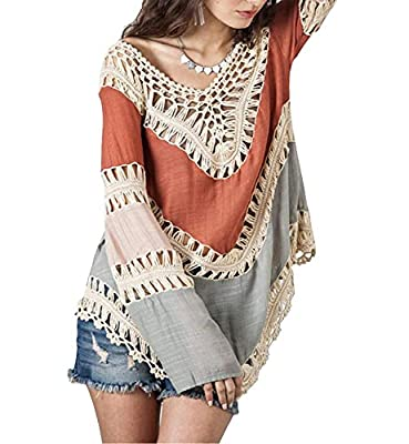 VIISHOW Women's V-Neck Long Sleeve Knit Splice Irregular Hem Blouse Tops