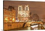 Premium Thick-Wrap Canvas Wall Art Print entitled Notre Dame de Paris cathedral at night.