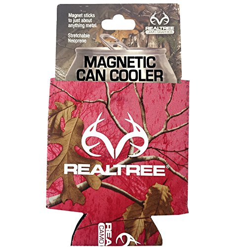 Realtree Camo Graphics Brand Logo Sports Drink Beer Water Soda Beverage Can Insulated Picnic Outdoor Party Beach BBQ Kooler Can Cooler - 12oz Magnetic Pink Cover (Magnetic Can Koozie compare prices)