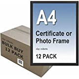 Box of 12 A4 Plain Black Photo Picture Certificate Frame Wall & Desk Mountable