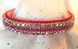 Indian Pink Aurora & Vibrant Fuchsia Crystal Rhinestone Velvet Dog Cat Pet Collar (Medium-Long)