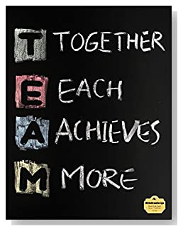 T.E.A.M. Notebook - Perfect for a co-worker gift or as part of a seminar packet. TEAM, Together Each Achieves More, written in colored chalk on a chalkboard background ties the theme together on the cover of this blank and wide ruled notebook with blank pages on the left and lined pages on the right.