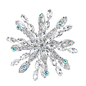 Ever Faith Silver-Tone Snowflake Brooch Austrian Crystal Clear A10511-1