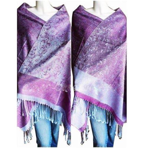 Amazoncom Jacquard Pashmina Paisley Shawl Purple&LtBlueAP Clothing Pashmina Paisley Shawl