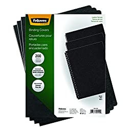 Fellowes Executive Binding Presentation Covers, Oversize Letter, Black, 200 Pack (52149)