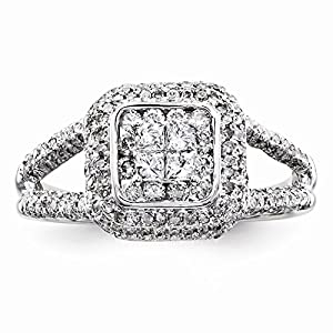 14k White Gold Multi-Stone Diamond Engagement Ring