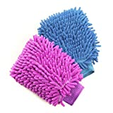 House Cleaning and Car Washing Gloves, BesMelody Home Dusting Microfiber Mitts, Wash Clean Polish Faster (2-Pack, Pink/Blue)