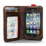 EC Technology? iPhone 4 4S Genuine Leather Case Handmade Wallet Book Cover with Credit Card ID Holders - Brown