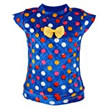 Leichie Casual Top with Multi Polka Dots & Bow Design no.2327 Blue